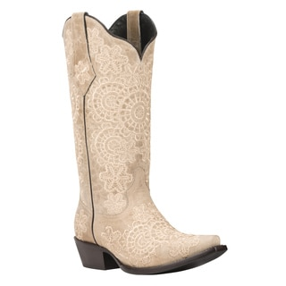 Black Star Medina Bone Women's Leather Cowboy Boots