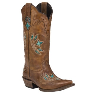 Black Star Hidalgo Brown Women's Leather Cowboy Boots
