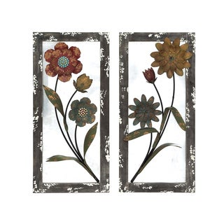 Carved Wood Multicolor Flower 72-inch Mirror