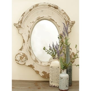 Farmhouse 43 x 35 Inch Antique Fiberglass Wall Mirror by Studio 350 - White