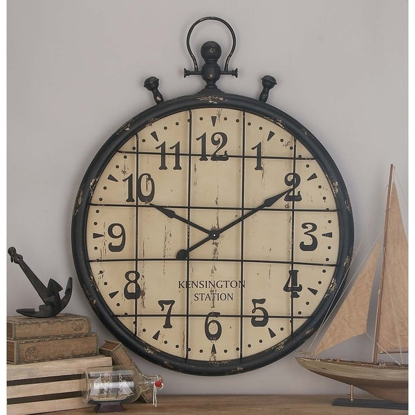 Industrial 50 Inch Vintage Metal and Wood Wall Clock from Studio 350