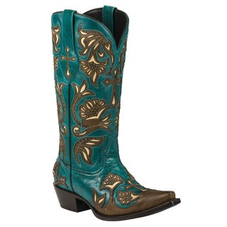 Black Star Leather Trinity Turquoise Boot