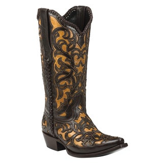 Black Star Leather Webb Brown Boot