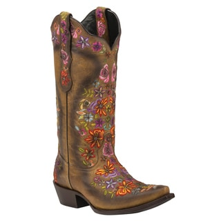 Black Star Sweetgrass Tan and Multicolor Women's Leather Cowboy Boots