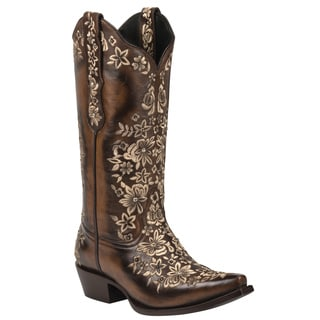 Black Star Sweetgrass Brown and Cream Women's Leather Cowboy Boots