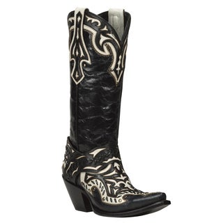 Black Star Eureka Black and White Women's Leather Cowboy Boots