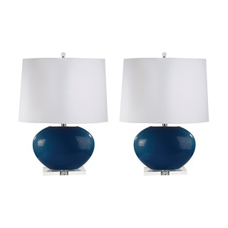 Blown Glass Oval Table Lamp in Royal Blue (Set of 2)