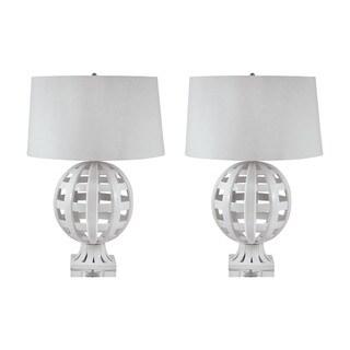Open Work Ceramic Globe Table Lamp in White (Set of 2)
