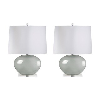 Blown Glass Oval Table Lamp in Grey (Set of 2)