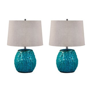 Aqua Leaf Terra Cotta Table Lamp (Set of 2)