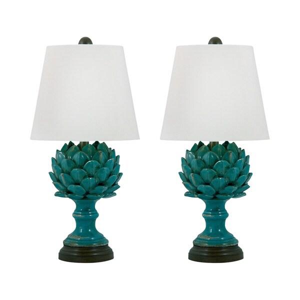 Shop Terra Cotta Artichoke Table Lamp In Blue Set Of 2