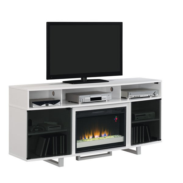 Enterprise Lite Contemporary Tv Stand With 26 Inch Electric Fireplace Gloss White