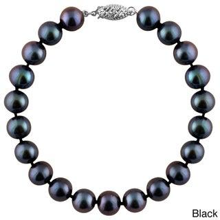 Gold Round Freshwater Pearl Bracelet (11mm) (Option: Black - White)