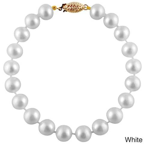 Gold Round Freshwater Pearl Bracelet (11mm)