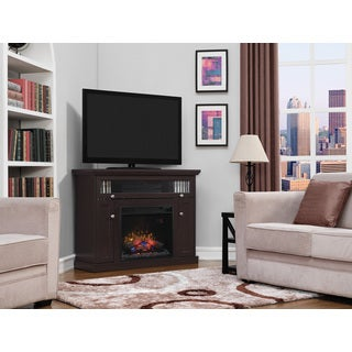 Windsor TV Stand with 23 Inch Infrared Quartz Fireplace, Oak Espresso