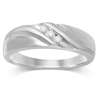 Unending Love 10k White Gold Men's 1/10ct TDW 3-stone Diamond Ring (H-I, I2-I3) (More options available)