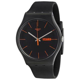 Swatch Unisex SUOB704 'Originals Dark Rebel' Black Silicone Watch