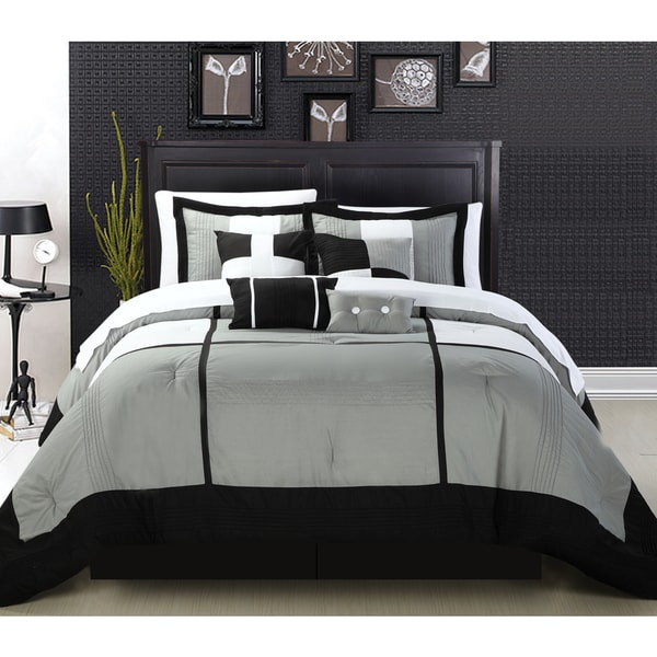 Chic Home Desiree 12-Piece Black Bed in a Bag Comforter Set