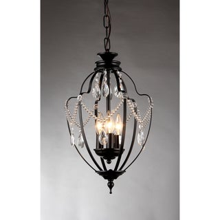Kennedy 3-light Black-finish 11-inch Crystal Chandelier