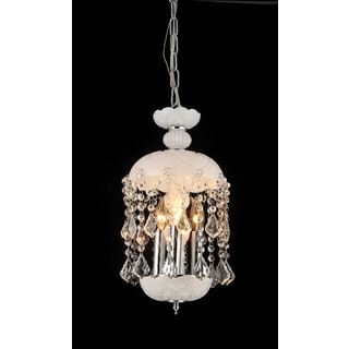 Kiara 3-light White Glass 11-inch Crystal Chandelier