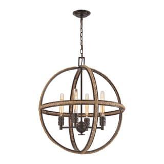 Elk Natural Rope 4-light LED Chandelier in Oil Rubbed Bronze
