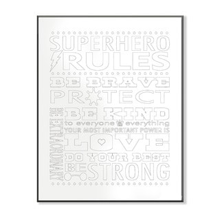 Superhero Rules Typog DIY Coloring Wall Plaque