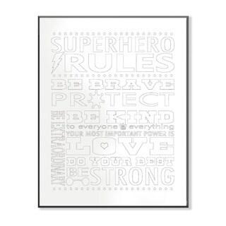 Superhero Rules Typog DIY Coloring Wall Plaque