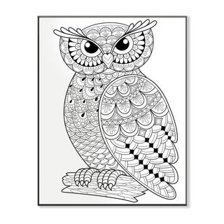 Wise Owl on a Log DIY Coloring Wall Plaque