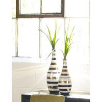 Aurelle Home Modern Contemporary Striped Vases (Set of 2)