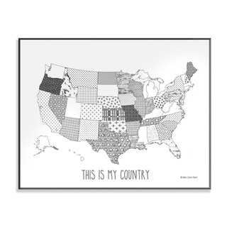 Quilted USA Map DIY Coloring Wall Plaque