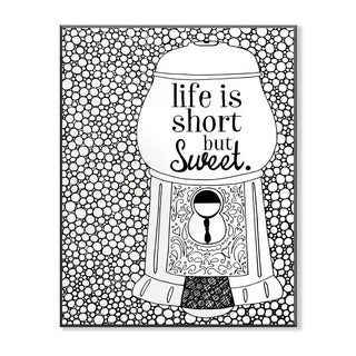Life is Short but Sweet Gumball Machine DIY Coloring Wall Plaque
