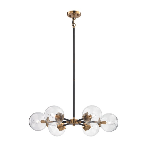 Elk Boudreaux 6-light  LED Chandelier in Matte Black and Antique Gold
