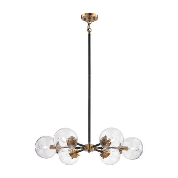 Elk Boudreaux 6-light LED Chandelier in Matte Black and Antique Gold