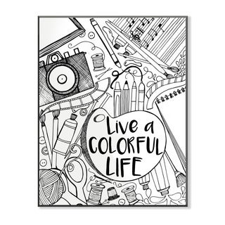 Live a Colorful Life DIY Coloring Wall Plaque
