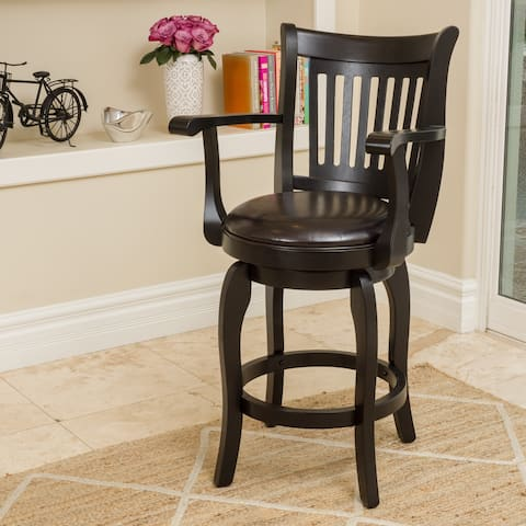 Prescott 25-inch Armed Bonded Leather Swivel Counter Stool by Christopher Knight Home