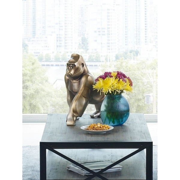 Aurelle Home Large Polished Metal Silverback Gorilla Statue