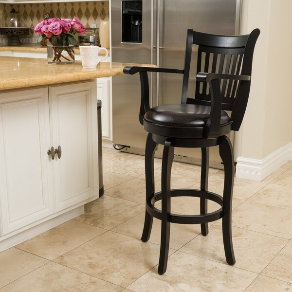 Prescott 31-inch Armed Bonded Leather Swivel Barstool by Christopher Knight Home