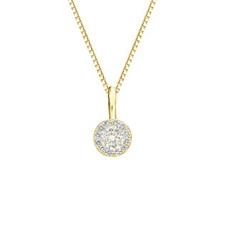 Auriya 14k Gold 1/4ct TDW Round-Cut Diamond Halo Necklace (J-K, I1-I2)