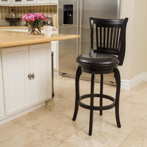 Prescott 25-inch Bonded Leather Swivel Counter Stool by Christopher Knight Home