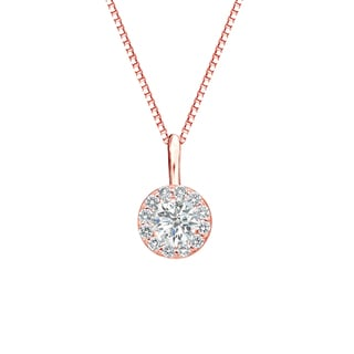 Auriya 14k Gold 2/5ct TDW Round-Cut Diamond Halo Necklace (I-J, SI2-SI3)