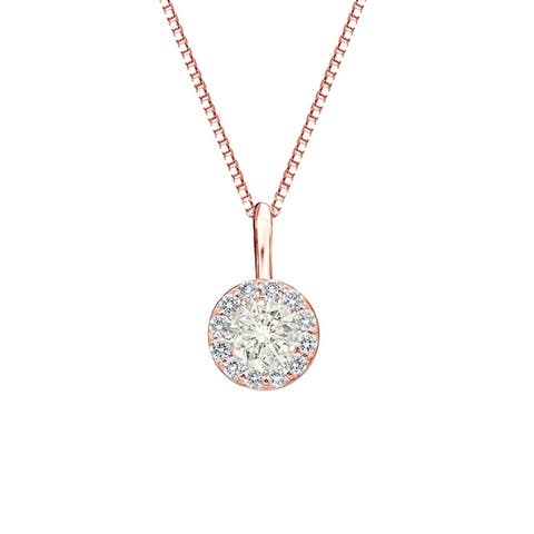 Auriya 2/5ctw Round Halo Diamond Necklace 14k Gold