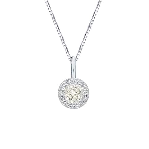 Auriya 2/5cttw Round Halo Diamond Necklace 14k Gold