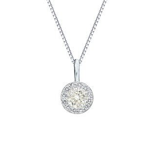 Auriya 14k Gold 2/5ct TDW Round Cut Diamond Halo Necklace (J-K, I1-I2)