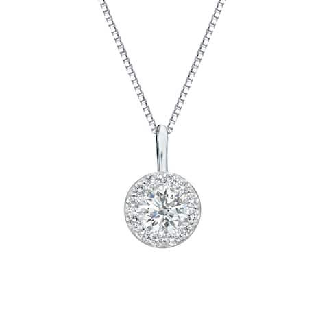 Auriya 1/2ctw Round Halo Diamond Necklace 14k Gold