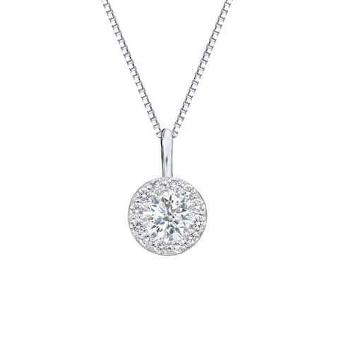 Auriya 1/2cttw Round Halo Diamond Necklace 14k Gold