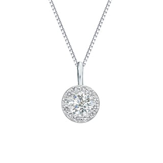 Auriya 14k Gold 1/2ct TDW Round-Cut Diamond Halo Necklace (I-J-SI2-SI3)