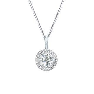 Auriya 14k Gold 1/2ct TDW Round Diamond Halo Necklace