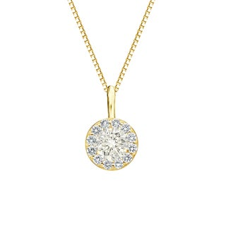 Auriya 14k Gold 1/2ct TDW Round-Cut Diamond Halo Necklace (J-K, I1-I2)