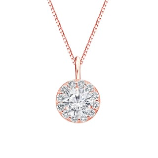 Auriya 14k Gold 3/4ct TDW Round-Cut Diamond Halo Necklace (H-I, SI1-SI2)