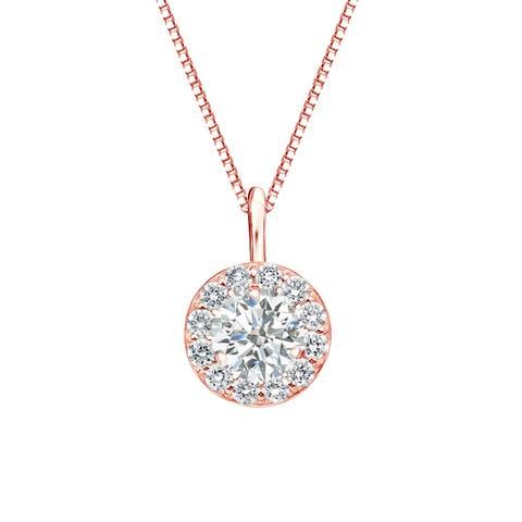 Auriya 3/4ctw Round Halo Diamond Necklace 14k Gold